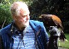 Ian Turner and hawk, getting to know each other on his recent hawk walk with us