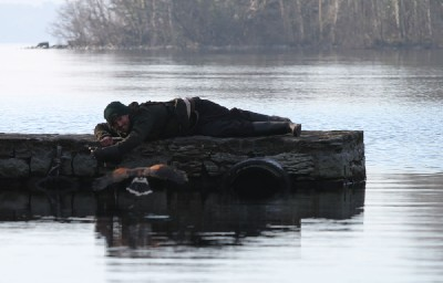 Eoin shows his dedication here as he lies on a frosty pier on a cold morning as we try to re-create the scene from the film Ladyhawke where the hawk flies low over the water!