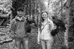 I love this photo of Jessica Kipetz and her husband with Rua & Killary during their Hawk Walk here.