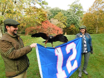 Another great photo from Sean & Angela Kimmel. Here is Bagun getting acquainted with the Seattle Seahawks 12 man flag!